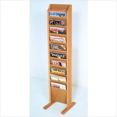 Wooden Mallet Free Standing 10 Pocket Magazine Rack in Dark Red Mahogany
