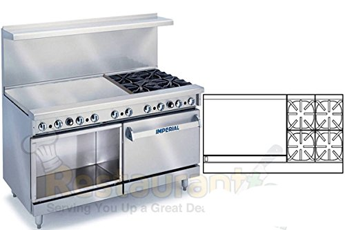 "Imperial Commercial Restaurant Range 60"" W/ 4 Burners 36"" Griddle Oven/Cabinet Nat Gas Ir-4-G36-Xb"