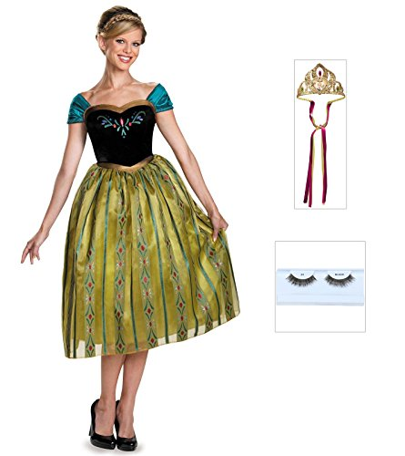 Frozen Anna Coronation Adult Deluxe Costume With Eyelashes and Crown