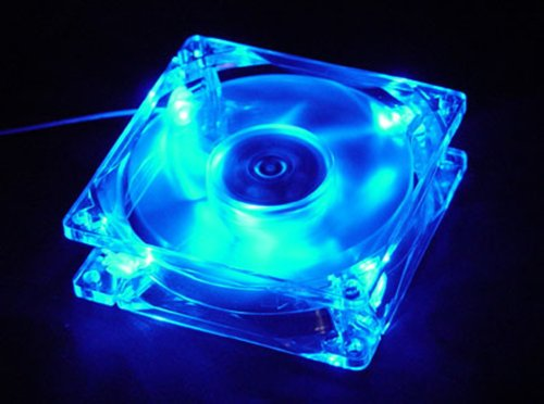 Autolizer 80mm, 8cm Quad-4 Blue LED Ultra Bright Computer Desktop PC Case Clear Cooling Fan, 4 pin connector with screws, Quiet and Silent (Clear Cooling Fan compare prices)