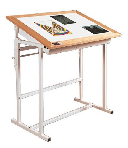 Oak Trimed Adjustable Steel Light Table - Alva-Trace (24 in. L x 36 in. W)