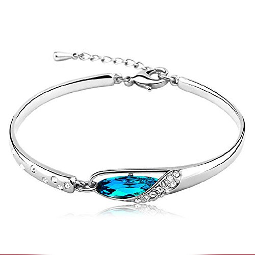 1 X New Fashion Jewelry Womens 925 Sterling Silver Crystal Bracelet Bangle Best Gift