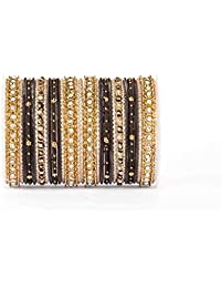 Elegant All Black thread Bangle Set By Leshya For Two Hands