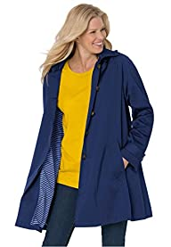 Women's Plus Size Classic Raincoat Wi…