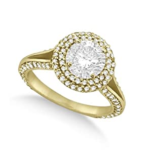 Ladies Double Halo Round Diamond Engagement Ring with Side Stones 14k Yellow old (2.00ct)