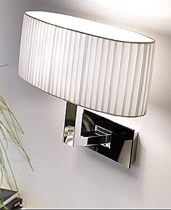 Mei Oval 2 wall lamp - Brilliant Chrome, 220 - 240V (for use in Australia, Europe, Hong Kong etc.), Cream Translucent Ribboned