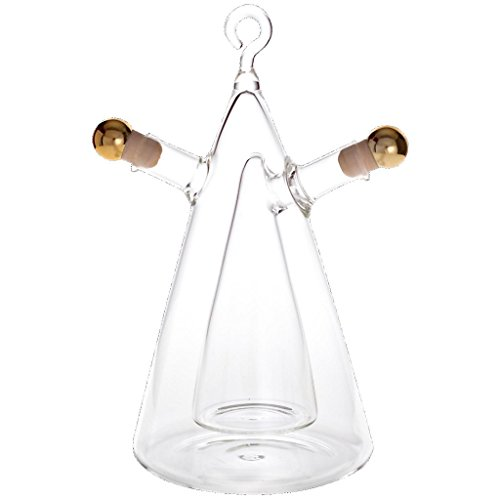"""Bouteille verre avec bouchon, Ensemble huile et vinaigre, Set """"TRIANGLE"""", 410 ml + 90 ml, bouteille en verre fait à main, grande idée cadeau (ART"""