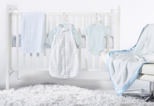 SwaddleDesigns 6 Piece Crib Bedding Set with Luxury Adult Blanket, Pastel Blue, 0-6months