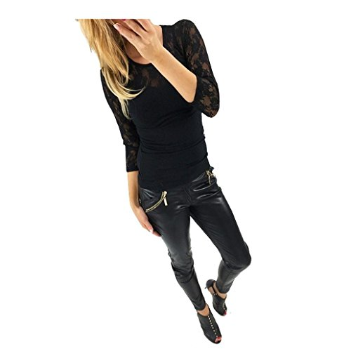 Camicetta,WINWINTOM Donne Camicia Casual Manica Lunga In Pizzo Top T Shirt (X--Large, Nero)