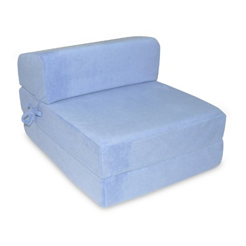 Single Memory Foam Z Bed Folding Sofa Bed Chair Guest Bed in Sky Blue Marth