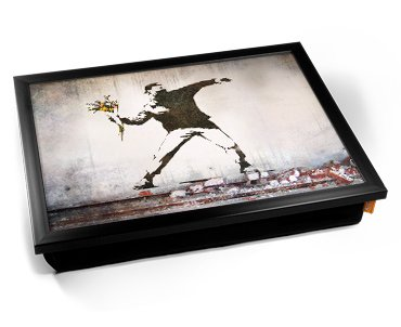 Banksy Thug Flowers Cushion Lap