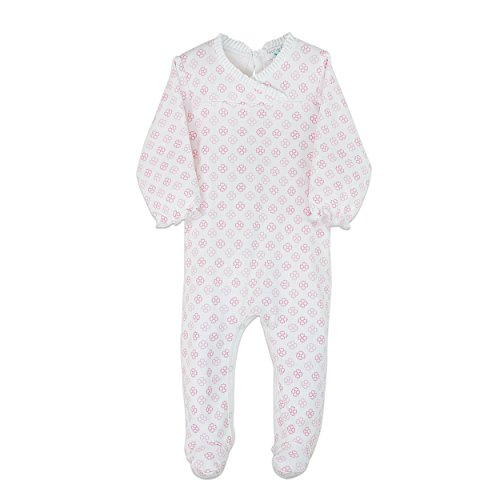 Feather Baby Little Girls Pima Cotton Long Sleeve Crossover Romper Footie
