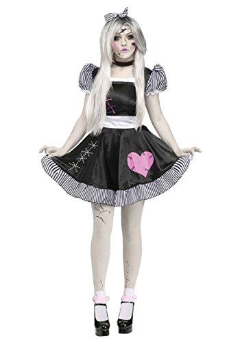 Fun World Costumes Women's Broken Doll Adult Costume, Black/White, Medium/Large