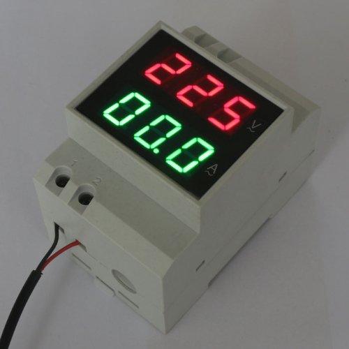 Drok Din-Rail Ac 380V 99.9A Digital Volt Amp Gauge Red Voltage Green Current Panel Meter Led Monitor, Three-Phase 200-450V