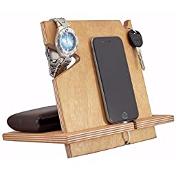 Wooden iPhone Docking Station, 5th Anniversary Gifts Wood, iPhone 6s plus, 6s, 6 plus, 6, 5, 5s, 4, Samsung Galaxy, Android (Cherry-non personalized)
