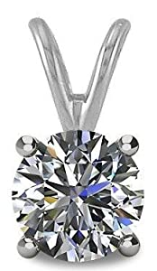 0.25tcw 14 Karat White Gold Round Brilliant Cut Diamond Pendant with 18 Inch chain