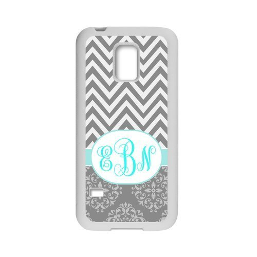 Personalized Grey White Chevron Pattern Vs Vintage European Pattern Turquoise Initials Unique Custom Samsung Galaxy S5 mini Best Plastic Cover Case (Samsung S5 Mini Initial Covers compare prices)