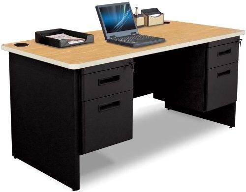 Pronto Pronto Double Pedestal Desk, 60W x 30D - Oak Laminate and Black Finish