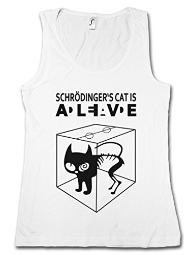 SCHRÖDINGERŽS CAT IS ALIVE DEAD I DONNA CANOTTA TANK TOP - gatto The Big Schroedinger chat TV Bang Theory Geek Nerd Taglie S - XL