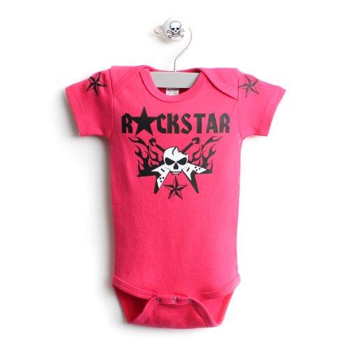 Rockstar Deluxe Baby One Piece Baby Body Suit In Fuschia front-580456