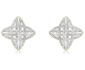 Carissima 9ct Yellow Gold 0.10ct Diamond Celtic Cross Stud Earring