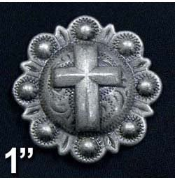 """Antique Silver Cross Conchos with Screw - 1"""" Lot of 10"""