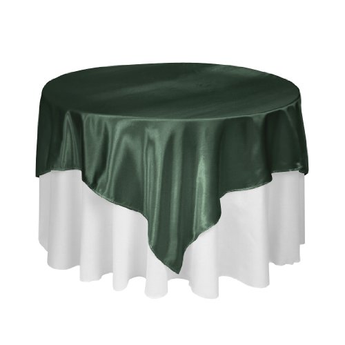 85 Inch Square Satin Overlay Hunter Green