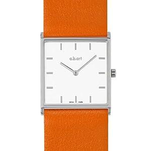 a.b.art Damen-Armbanduhr E404 Analog Leder Orange E404