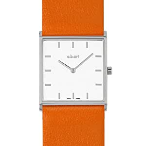 a.b.art Damen-Armbanduhr E404 Analog Leder Orange E404