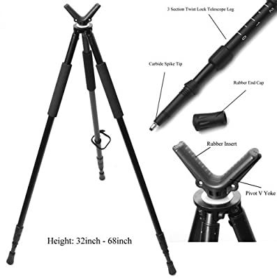 Hammers Telescopic Shooting Tripod w/ Pivot V Yoke Max. Height 68""