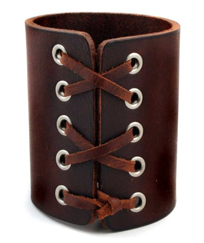 Laced Brown Leather Gothic Rock Star Cuff Bracelet