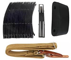 "Ultimate Arms Gear SKS Package: Slip On 2"" Extended Recoil Reduction Combat Rubber Stock Buttpad Butt Pad + Green Cloth Canvas Sling + 10 Round Steel Stripper Clips Clip 7.62x39mm Ammo Ammunition - Pack Of 20"