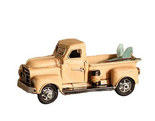Retro Tin Car Truck Truck Model Handmade Iron Crafts--Yellow