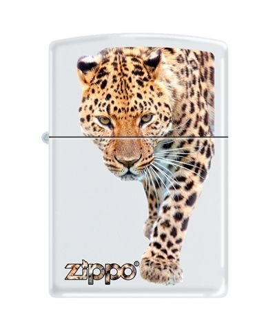 Zippo Leopard and Zippo Logo White Matte Lighter 6289