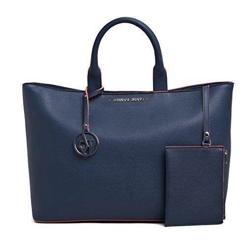 ARMANI JEANS Borsa Shopping Donna Ecopelle Astuccio Blu 0524V V6