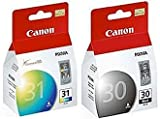 2 Pack Canon PG-30 Black and CL-31 Color Printer Ink Cartridges PG30 CL31 for Canon Pixma iP1800...