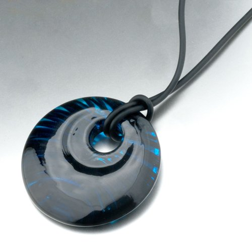 Pugster Murano Glass Turquoise Blue With Black Waves Necklace Pendant