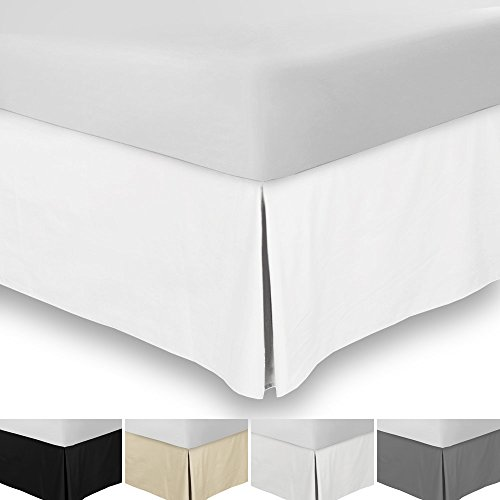 "Bed Skirt (Queen, White, 15"" fall) - Hotel Quality, Iron Easy, 4 Sided Pleating, Wrinkle & Fade Resistant - By Utopia Bedding"