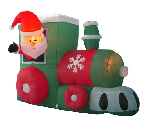 4' Airblown Inflatable Santa On Locomotive Train Lighted Christmas Yard Art Decoration front-975471
