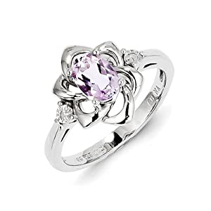 Sterling Silver Diamond & Pink Amethyst Ring from Italian Charms Bracelets INC