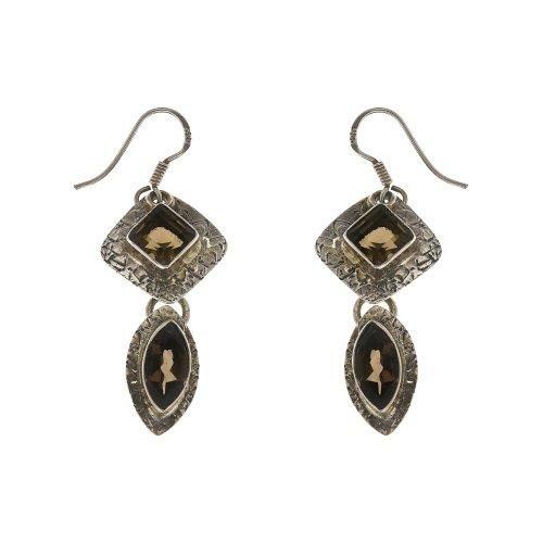 Handcrafted Smokey Quartz Gemstone Artisan Jewelry Ethnic Earrings Silver
