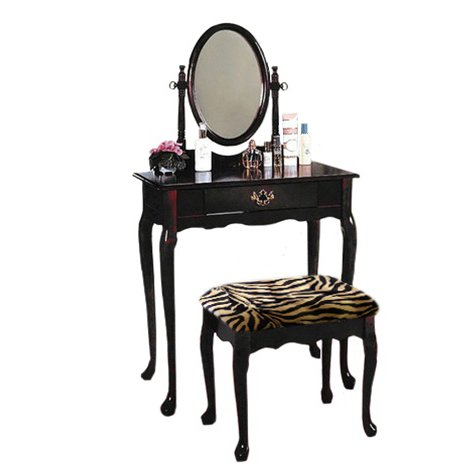 Cherry Finish Make up Vanity Table with Brown Zebra Faux Fur Seat Cushion Bench & Mirror