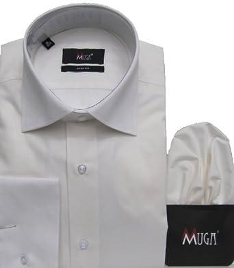MMUGA Business und Freizeit Langarm Herren Hemd Slim-fit, Creme/Ivory, Größe S
