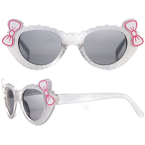 1x of Baby Kitty Sunglasses, Polka Dot Design, UV Protection for Kids Ages 2-8 Years Old - White Frame