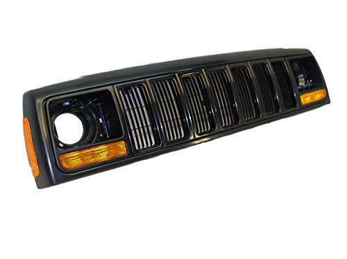 97-01-JEEP-CHEROKEE-GRILLE-BLACK-HEADER-PANEL-PAKR-SIDE-MARKER-LAMP-8PCS