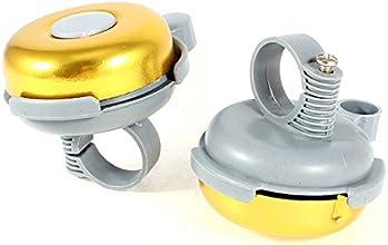 Gold Tone Gray Metallic Sound Alarm Bike Bicycle Round Bell Ring 2 Pcs