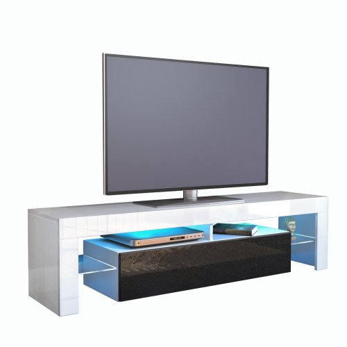 TV Stand Unit Lima in White / Black metallic High Gloss Black Friday & Cyber Monday 2014