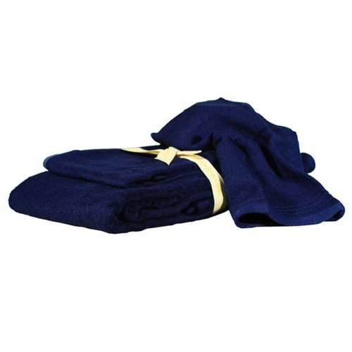 ShooFoo 3-Piece Set Bamboo Spa Towels, Blue indigo