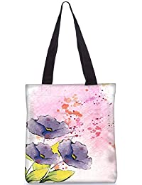 Snoogg Background With Floral Vector Illustration Fashion Printed Shopping Shoulder Lunch Tote Bag For Women