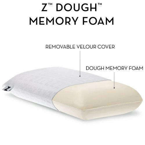 Z by Malouf MEMORY FOAM Molded Pillow with Luxurious Velour Washable Cover, KING-HIGH LOFT-FIRM